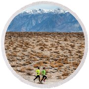 Man And Woman  Trail Running Round Beach Towel