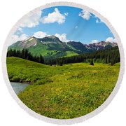 Man Camping Along Slate River, Crested Round Beach Towel