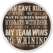 Man Cave Rules Square Round Beach Towel