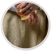 Man Drinking Spirits Round Beach Towel