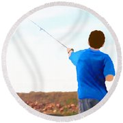 Man Fishing Round Beach Towel by Marian Cates