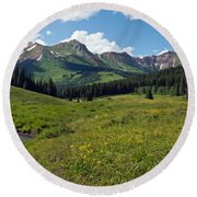 Man Fly-fishing In Slate River, Crested Round Beach Towel