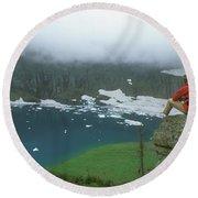 Man Hiking Overlooking Glacier Lake Round Beach Towel