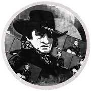 Man In Black Round Beach Towel