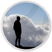 Man In The Clouds Round Beach Towel