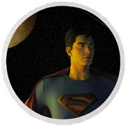 Man Of Steel Round Beach Towel