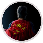 Round Beach Towel featuring the digital art Man Of Steel - Superman by Anthony Mwangi