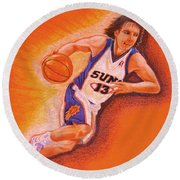 Man On Fire Round Beach Towel by Marilyn Smith