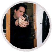 Man Pointing Gun Through Doorway Round Beach Towel