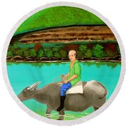 Man Riding A Carabao Round Beach Towel