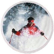 Man Wearing Red And Black Ski Jacket Round Beach Towel