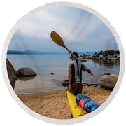 Man With A Paddle Over His Shoulder Round Beach Towel