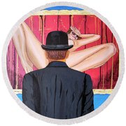 Man With Bowler In Front Of Nude Round Beach Towel