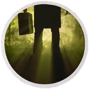 Round Beach Towel featuring the photograph Man With Case In Fog by Lee Avison