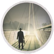 Round Beach Towel featuring the photograph Man With Case On Bridge by Lee Avison