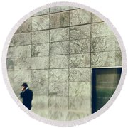Round Beach Towel featuring the photograph Man With Cell Phone by Silvia Ganora