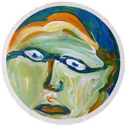 Man With Glasses Round Beach Towel