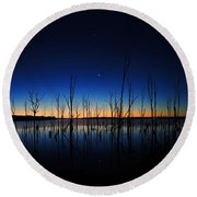 Manasquan Reservoir At Dawn Round Beach Towel