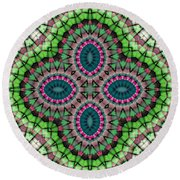 Mandala 111 Round Beach Towel by Terry Reynoldson
