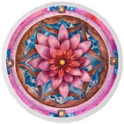 Mandala Of Health Round Beach Towel
