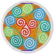Round Beach Towel featuring the painting Mandala by Sonali Gangane