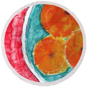 Mandarins Round Beach Towel