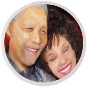 Round Beach Towel featuring the painting Mandela And Whitney by Vannetta Ferguson
