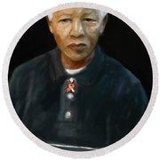 Round Beach Towel featuring the digital art Mandela by Vannetta Ferguson
