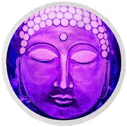 Round Beach Towel featuring the painting Mandi's Buddha by Michelle Dallocchio