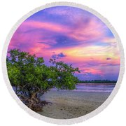 Mangrove By The Bay Round Beach Towel