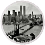 Manhattan 1978 Round Beach Towel