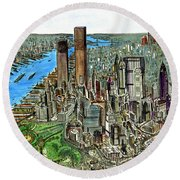 New York Downtown Manhattan 72 Round Beach Towel by Art America Gallery Peter Potter