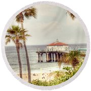 Manhattan Beach Pier Round Beach Towel by Juli Scalzi