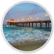 Manhattan Beach Reflections Round Beach Towel