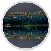 Manhattan Bridge New York Round Beach Towel