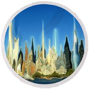 New York City 2100 - Modern Art Round Beach Towel by Art America Gallery Peter Potter