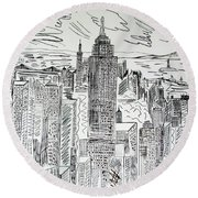 Round Beach Towel featuring the drawing Manhattan by Janice Rae Pariza