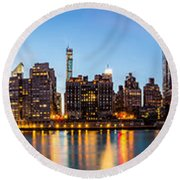 Manhattan Panorama And Queensboro Bridge Round Beach Towel