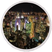 Round Beach Towel featuring the photograph Manhattan Skyline Empire State Wobbles by Andy Prendy
