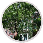 Round Beach Towel featuring the photograph Manhattan Upper East Side Late Summer by Andy Prendy