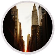Manhattanhenge Sunset And The Chrysler Building  Round Beach Towel