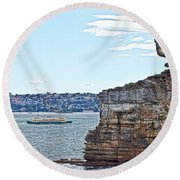 Round Beach Towel featuring the photograph Manly Ferry Passing By  by Miroslava Jurcik