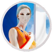 Mannequin In Orange  Round Beach Towel