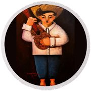 Round Beach Towel featuring the painting Manolito El Cuatrista 1942 by Oscar Ortiz