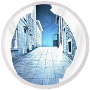 Man's Profile Silhouette With Old City Streets Round Beach Towel