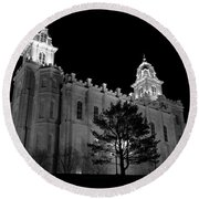 Manti Temple Black And White Round Beach Towel