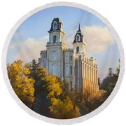 Manti Temple Round Beach Towel