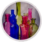 Many Colorful Bottles Round Beach Towel