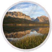 Round Beach Towel featuring the photograph Many Glacier Reflections by Jack Bell