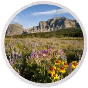 Round Beach Towel featuring the photograph Many Glacier Spring by Jack Bell